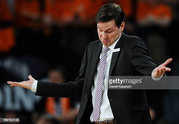 Coach Thorsten Leibenath of Ulm reacts during the fourth Game of the semifinals of the Beko Basketball Playoffs match between Ratiopharm Ulm and EWE...
