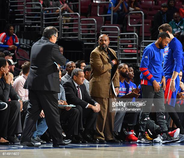 Coach Tim Hardaway of the Detroit Pistons looks on against Philadelphia 76ers during a preseason game at the Wells Fargo Center on October 15 2016 in...