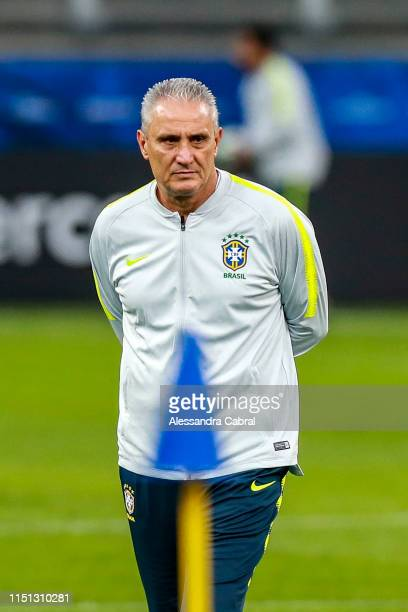 Coach Tite of Brazil looks on during official training session as part of the Copa America Brazil 2019 at Corinthians Arena on June 21, 2019 in Sao...