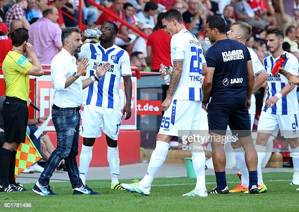 Coach Tomas Oral and Bjarne Thoelke of Karlsruher SC during the game between dem 1 FC Union Berlin and dem Karlsruher SC on september 10, 2016 in...