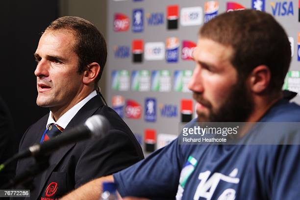 Coach Tomaz Morais of Portugal and captain Vasco Uva during the post match press conference following match fourteen of the Rugby World Cup 2007...