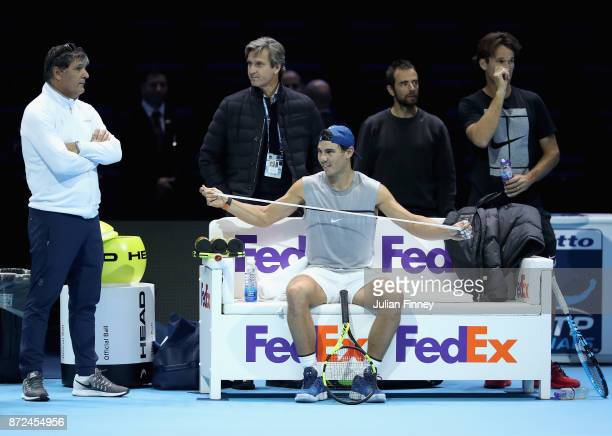 Coach Toni Nadal and Rafael Nadal of Spain during a training session prior to the Nitto ATP World Tour Finals at O2 Arena on November 10 2017 in...