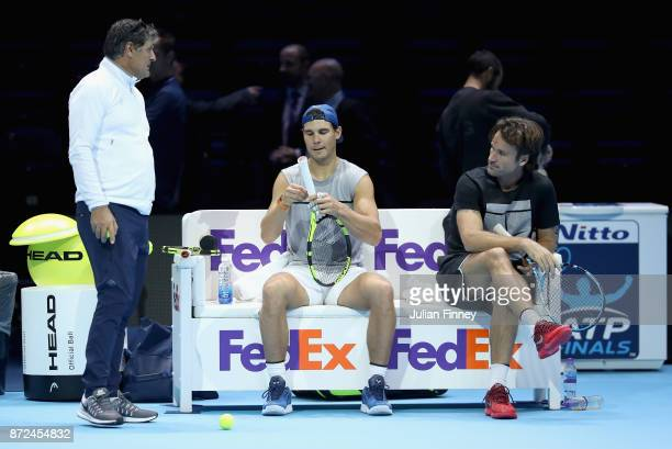 Coach Toni Nadal Rafael Nadal of Spain and coach Carlos Moyá during a training session prior to the Nitto ATP World Tour Finals at O2 Arena on...