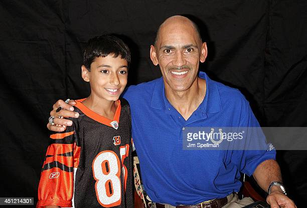 Coach Tony Dungy with Young Fan At His Book Signing Of Quiet Strength At Bookends In Ridgewood, New Jersey On July 13, 2007