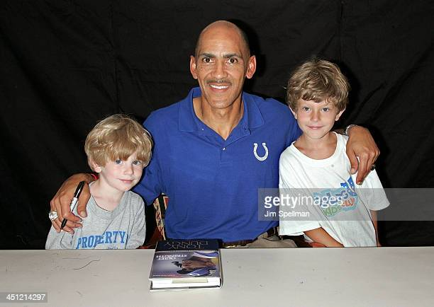 Coach Tony Dungy with Young Fans Charlie and Daniel At His Book Signing Of Quiet Strength At Bookends In Ridgewood, New Jersey On July 13, 2007