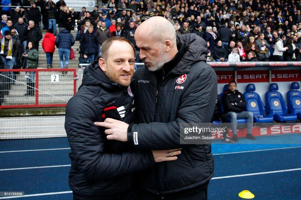 Coach Torsten Lieberknecht of Braunschweig and Coach Michael Frontzeck of Kaiserslautern before the Second Bundesliga match between Eintracht Braunschweig and 1. FC Kaiserslautern at Eintracht Stadion on February 4, 2018 in Braunschweig, Germany.