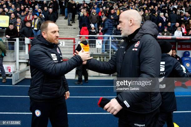 Coach Torsten Lieberknecht of Braunschweig and Coach Michael Frontzeck of Kaiserslautern before the Second Bundesliga match between Eintracht...