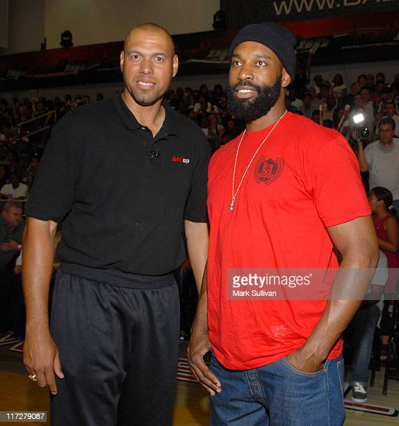 Coach Tracy Murray and Baron Davis at the Ball Up Championship Game at Cal State Northridge on June 24 2011 in Northridge California