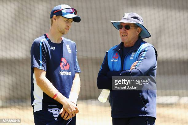 Coach Trevor Bayliss and Joe Root talk during an England nets session at the Melbourne Cricket Ground on December 24 2017 in Melbourne Australia