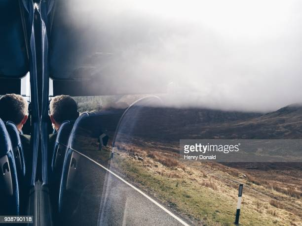 coach trip scotland - coach bus stock photos and pictures