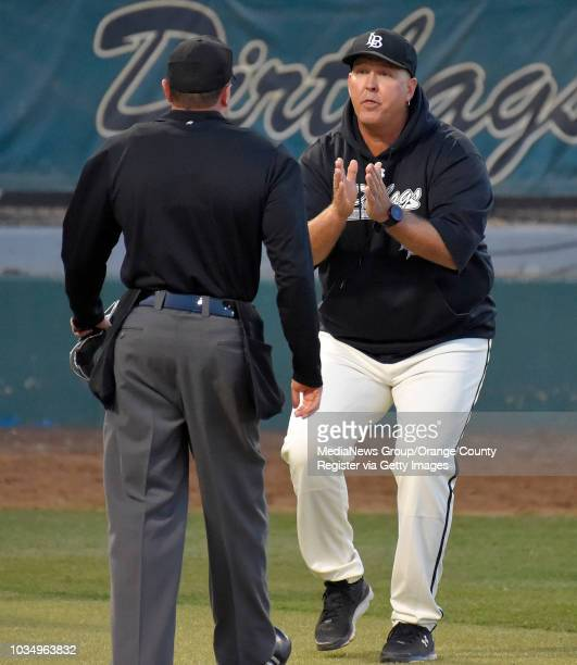LBSU coach Troy Buckley questions home plate umpire Carl Coles after a called strike out in Long Beach on Thursday April 13 2017 Coles ejected...