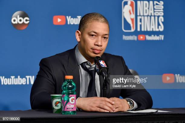 OH Coach Tyronn Lue of the Cleveland Cavaliers speaks with the press after the game against the Golden State Warriors in Game Four of the 2018 NBA...