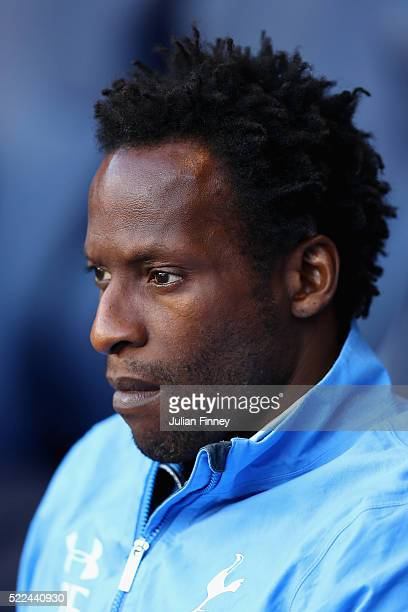 Coach Ugo Ehiogu looks on during the U21 Barclays Premier League match between Tottenham Hotspur and Manchester United at White Hart Lane on April 19...