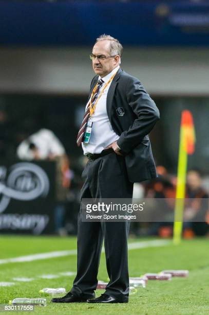 Coach Uli Stielike of Korea Republic reacts during their 2018 FIFA World Cup Russia Final Qualification Round Group A match between China PR and...