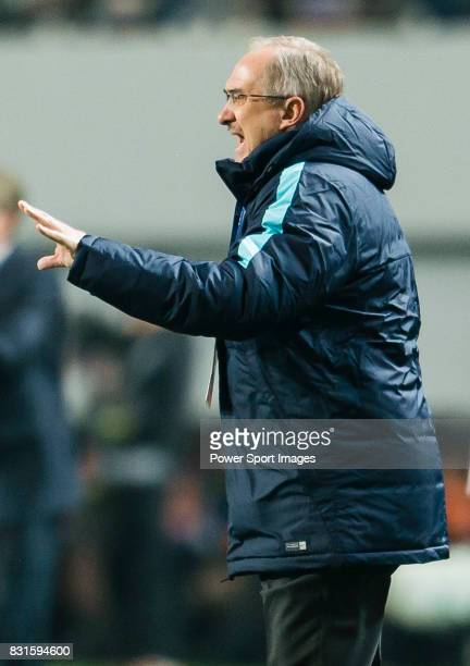 Coach Uli Stielike of Korea Republic reacts during their 2018 FIFA World Cup Russia Final Qualification Round Group A match between Korea Republic...