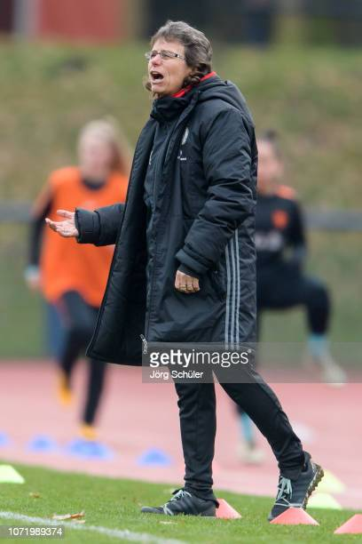 Coach Ulrike Ballweg of Germany during the U17 Girl's international friendly match between Germany and Netherlands at the Sportpark on December 12...
