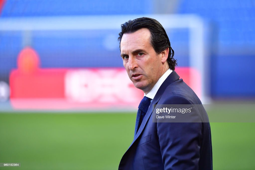 PSG coach Unai Emery before the Ligue 1 match between SM Caen and Paris Saint Germain at Stade Michel D'Ornano on May 19, 2018 in Caen, .