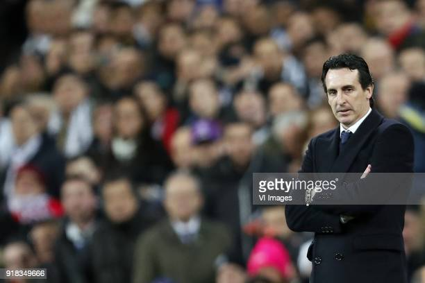 coach Unai Emery of Paris SaintGermain during the UEFA Champions League round of 16 match between Real Madrid and Paris SaintGermain at the Santiago...