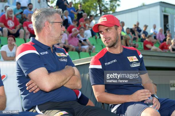 coach Urs Fischer and assistant coach Sebastian Boenig of 1 FC Union Berlin chat during the test match between dem FSV Union Fuerstenwalde and Union...