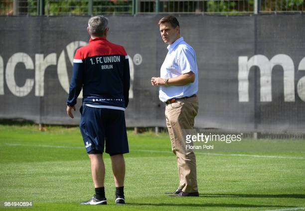 Coach Urs Fischer and CEO Oliver Ruhnert of 1 FC Union Berlin speak during the first training of season 2018/2019 at Trainingsgelaende of Stadion an...