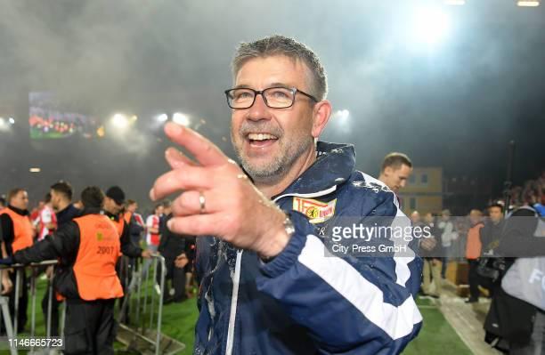 Coach Urs Fischer of 1 FC Union Berlin after the relegation match between Union Berlin and VfB Stuttgart at Stadion an der alten Foersterei on May 27...
