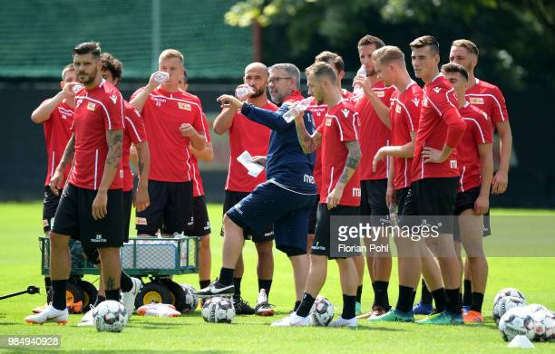 Coach Urs Fischer of 1 FC Union Berlin gives instructions during the first training of season 2018/2019 at Trainingsgelaende of Stadion an der alten...