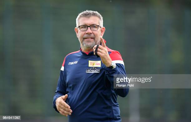 Coach Urs Fischer of 1 FC Union Berlin looks on during the first training of season 2018/2019 at Trainingsgelaende of Stadion an der alten Foersterei...