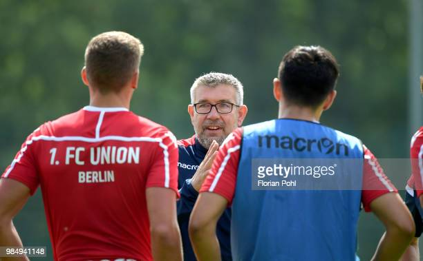 Coach Urs Fischer of 1 FC Union Berlin speaks to players during the first training of season 2018/2019 at Trainingsgelaende of Stadion an der alten...