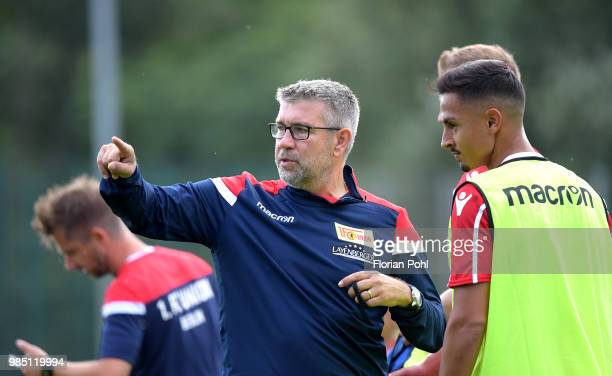 coach Urs Fischer talks to Kenny Prince Redondo of 1 FC Union Berlin during the first training of season 2018/2019 at Trainingsgelaende of Stadion an...