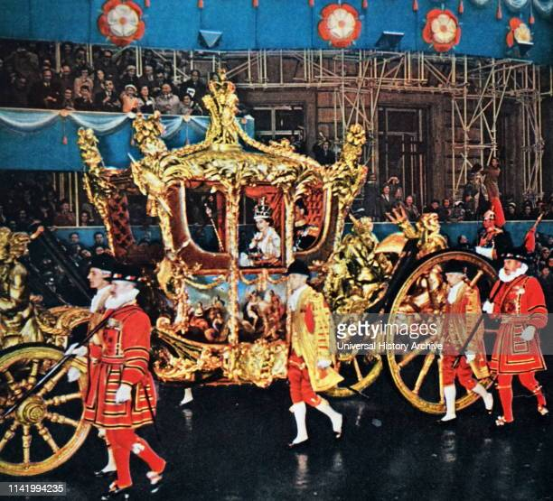Coach used for the coronation of Queen Elizabeth II of the United Kingdom 1953. The Gold State Coach is an enclosed, eight horse-drawn carriage used...