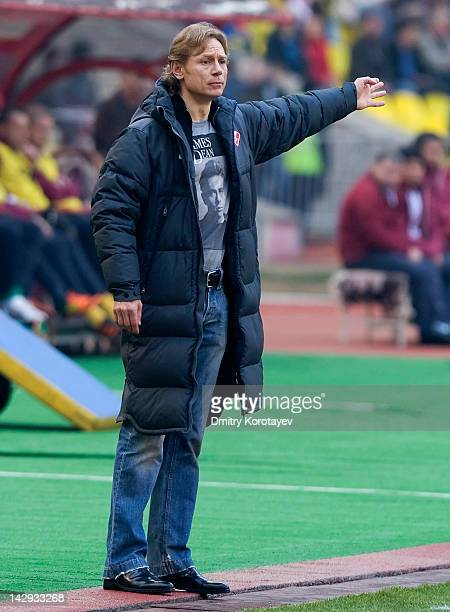 Coach Valery Karpin of FC Spartak Moscow reacts during the Russian Football League Championship match between FC Spartak Moscow and FC Rubin Kazan at...