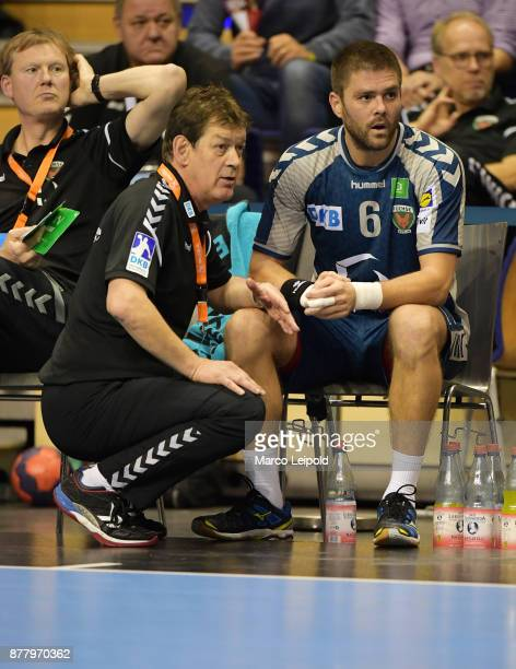 Coach Velimir Petkovic and Drago Vukovic of Fuechse Berlin during the EHF Cup match between Fuechse Berlin and the FC Porto at MaxSchmelingHalle on...