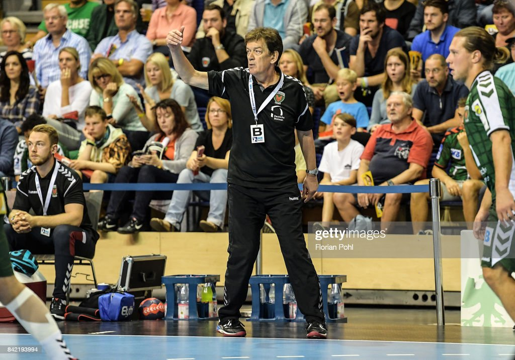 coach Velimir Petkovic of Fuechse Berlin during the game between Fuechse Berlin and the Eulen Ludwigshafen on September 3, 2017 in Berlin, Germany.