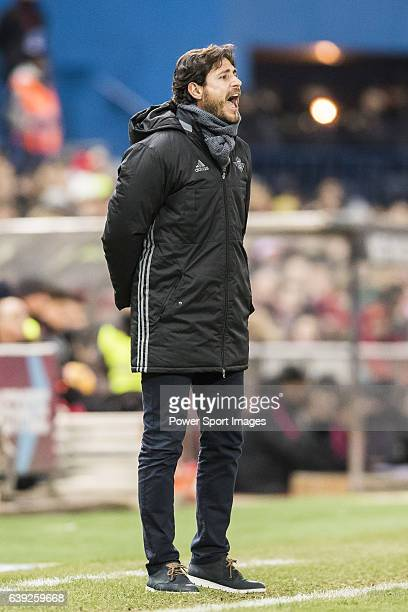 Coach Victor Sanchez del Amo of Real Betis Balompie gives instruction during their La Liga 201617 match between Atletico de Madrid vs Real Betis...
