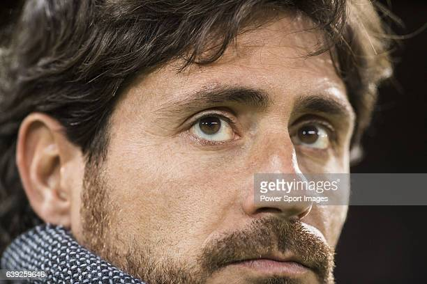 Coach Victor Sanchez del Amo of Real Betis Balompie looks on prior to the La Liga 2016-17 match between Atletico de Madrid vs Real Betis Balompie at...