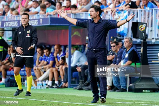 coach Victor Sanchez of Malaga CF during the La Liga SmartBank match between Malaga v UD Almeria at the La Rosaleda Stadium on September 7 2019 in...