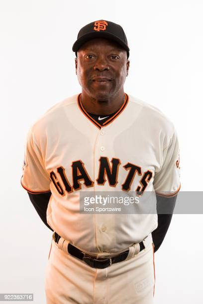 Coach Vince Coleman poses for a photo during the San Francisco Giants photo day on Tuesday Feb 20 2018 at Scottsdale Stadium in Scottsdale Ariz