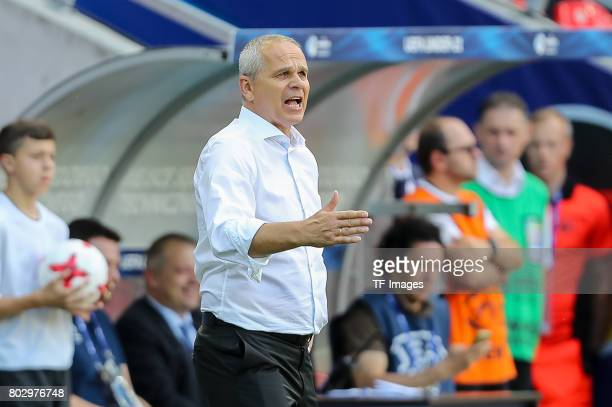 Coach Vitezslav Lavicka of Czech Republic gestures during the UEFA European Under21 Championship Group C match between Germany and Czech Republic at...