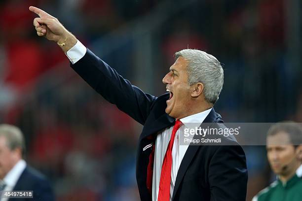 Coach Vladimir Petkovic of Switzerland directs his players during the EURO 2016 Qualifier match between Switzerland and England on September 8 2014...