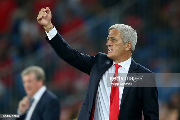 Coach Vladimir Petkovic of Switzerland gestures during the EURO 2016 Qualifier match between Switzerland and England on September 8 2014 in Basel...