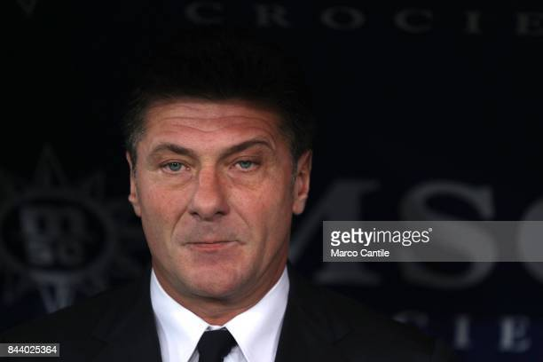 Coach Walter Mazzarri during a soccer match at the San Paolo stadium between Napoli and Milan