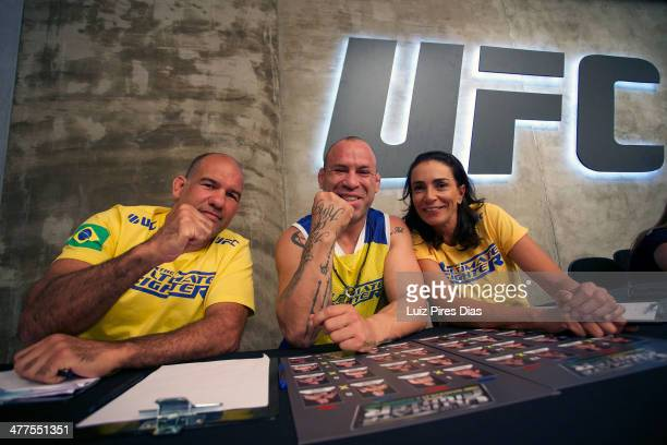 Coach Wanderlei Silva poses with his team during the elimination fight between Jollyson Da Silva and Ewerton Rocha for season three of The Ultimate...