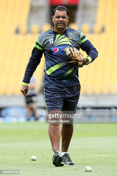 Coach Waqar Younis of Pakistan looks on during the One Day International match between New Zealand and Pakistan at Westpac Stadium on January 31 2015...