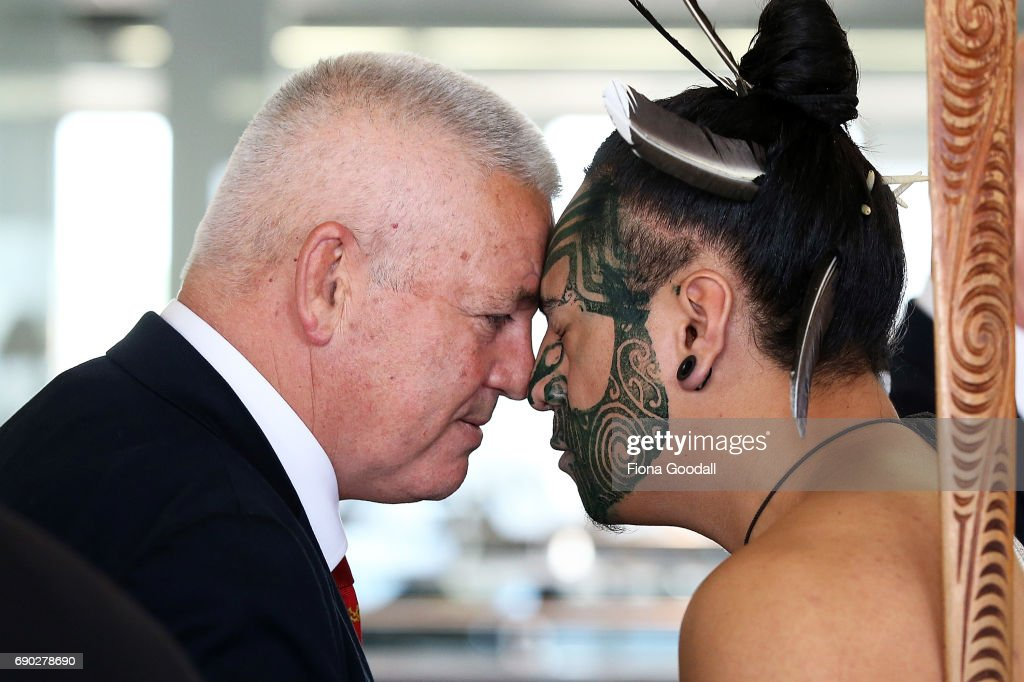 Coach Warrren Gatland of the British & Irish Lions recieves a hongi in welcome as the team arrives at Auckland International Airport on May 31, 2017 in Auckland, New Zealand.