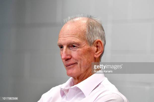 Coach Wayne Bennett of the Broncos gives a smile at the post match press conference after the round 23 NRL match between the Brisbane Broncos and the...