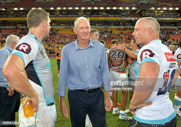 Coach Wayne Bennett of the World All Stars is seen talking to his players after the NRL match between the Indigenous AllStars and the World AllStars...