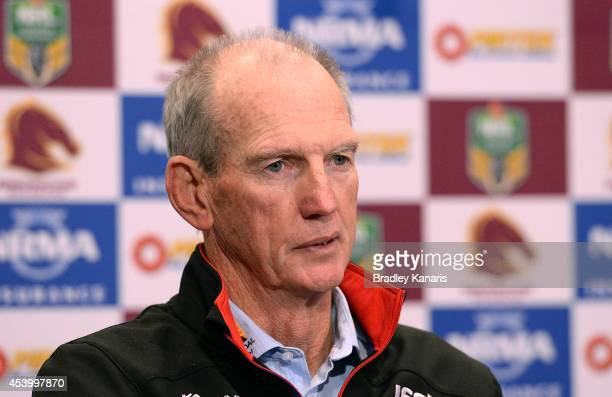 Coach Wayne Bennett talks at a post match press conference after the round 24 NRL match between the Brisbane Broncos and the Newcastle Knights at...