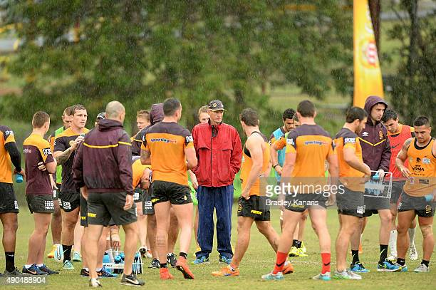Coach Wayne Bennett talks to his players during the Brisbane Broncos NRL training session on September 29 2015 in Brisbane Australia