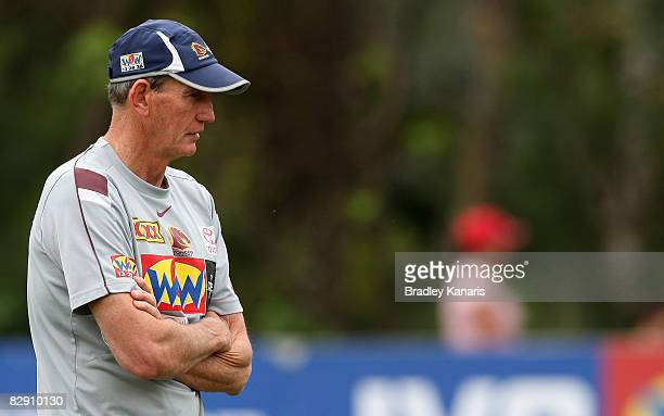 Coach Wayne Bennett watches on during a Brisbane Broncos training session at the Broncos training fields on September 19 2008 in Brisbane Australia