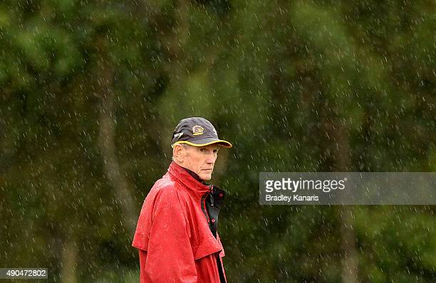 Coach Wayne Bennett watches on during the Brisbane Broncos NRL training session on September 29 2015 in Brisbane Australia
